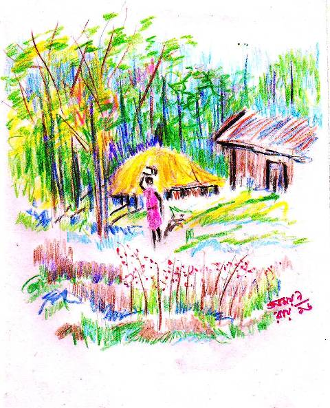 coloured pencil drawing of a village scene of bengal