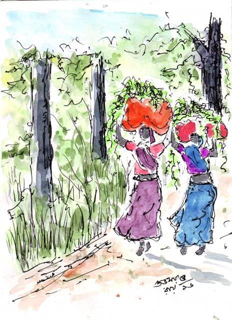 water-colour-sketch--farm-women