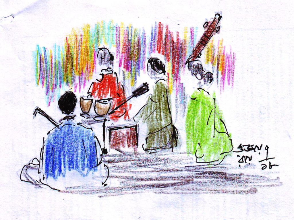 pen and coloured pencil sketch of a musical concert