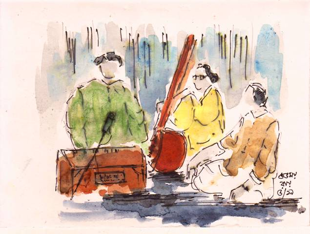 line and wash sketch of musician