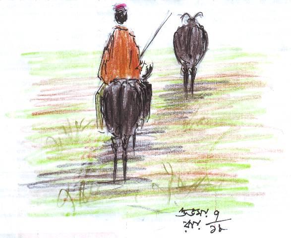 pen and coloured pencil sketch
