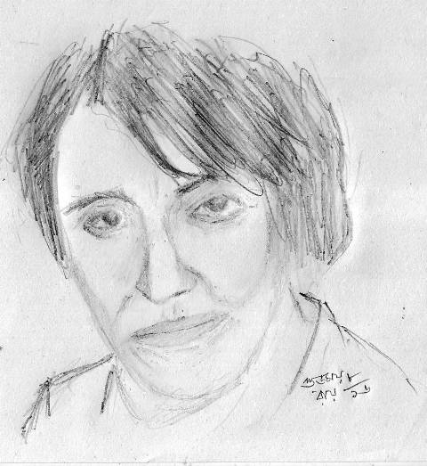 pencil portrait of Françoise Mallet-Joris