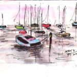 line and wash drawing of boats