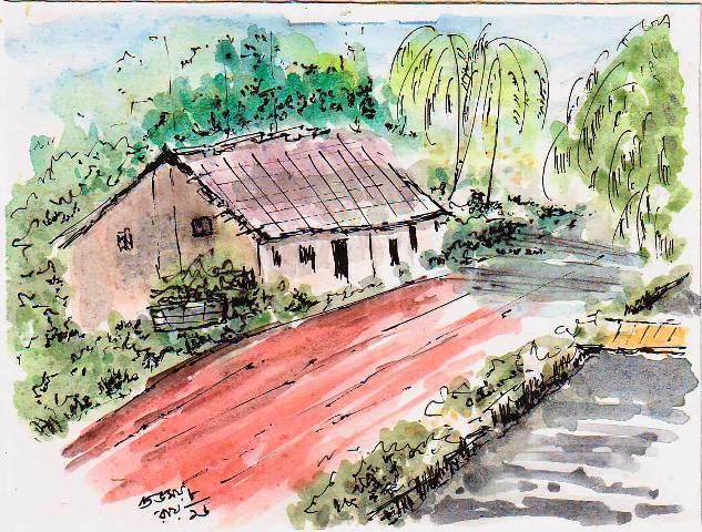 line and wash village sketch