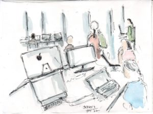 line and wash sketch of people in an office