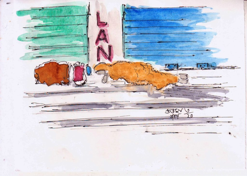 line and wash sketch of a woman sleeping on the road