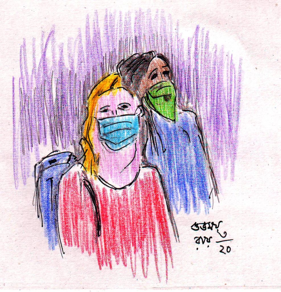 pen and coloured pencil sketch of masked people