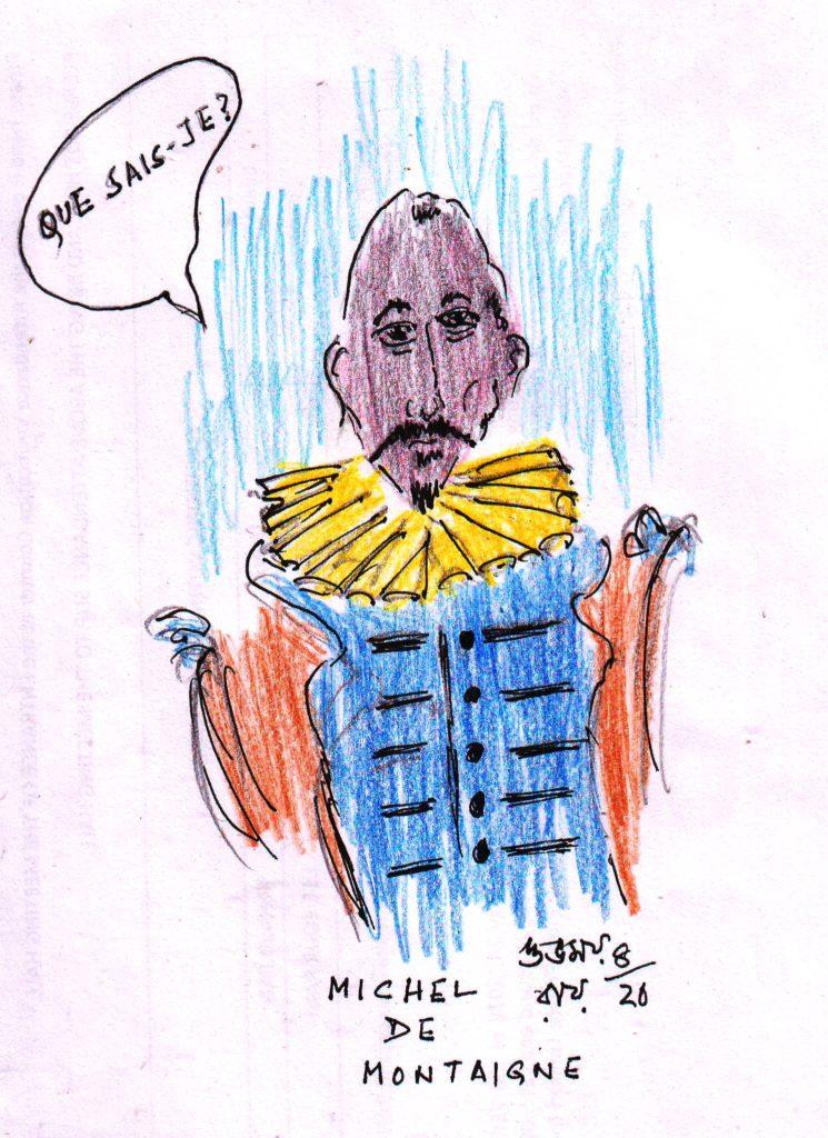 michel de montaigne pencil sketch