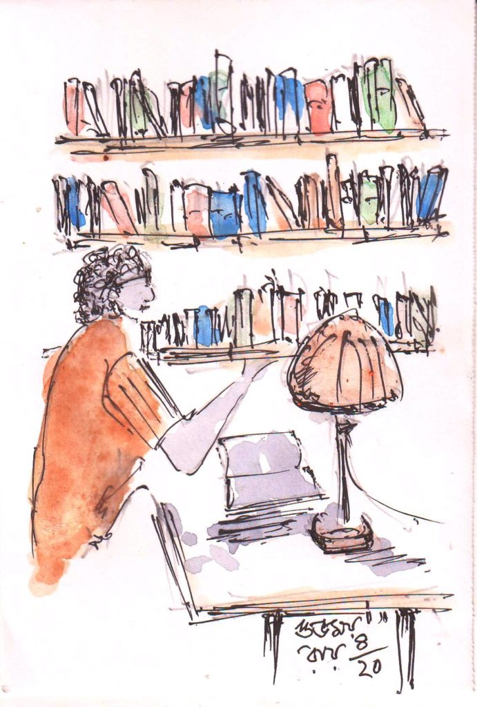 line and wash sketch of a man reading