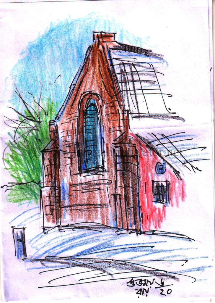 coloured pencil urban sketch