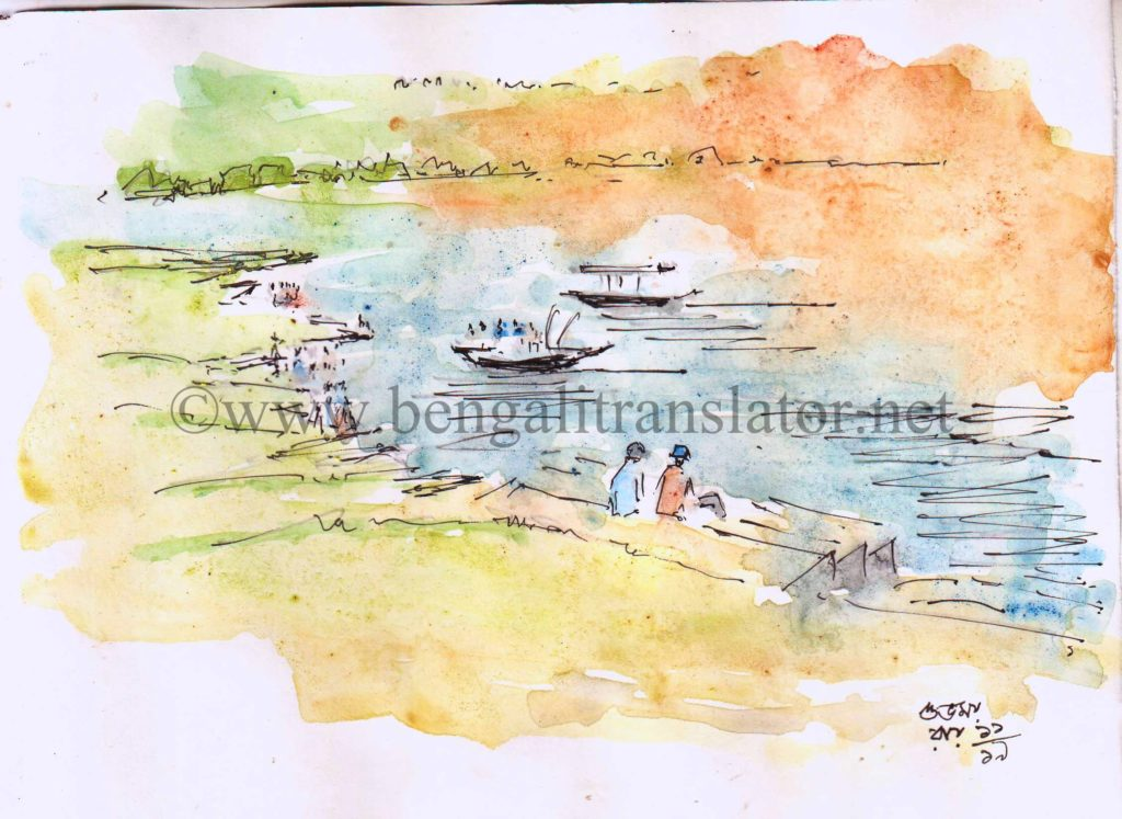 line and wash watercolour sketch of a river front