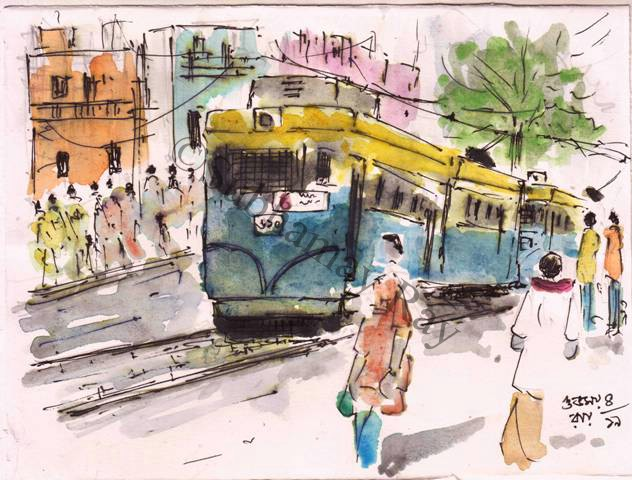 line and wash sketch of a tram car