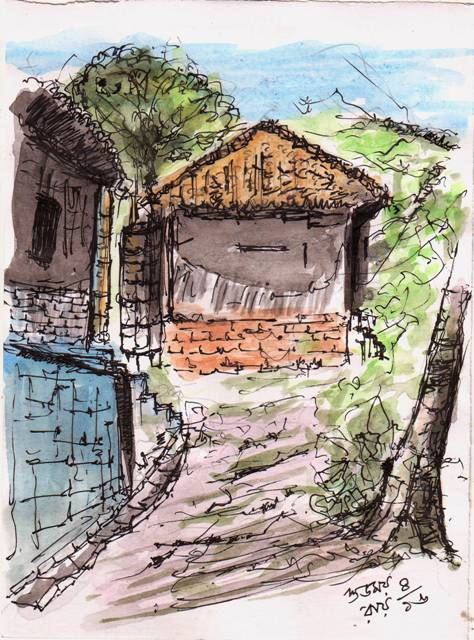 Afternoon in a Village Alley sketch