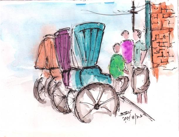 rickshaw-calcutta-sketch
