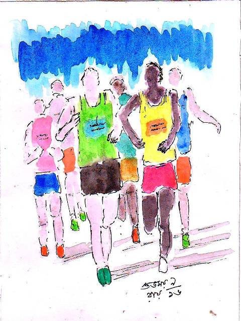 line and wash sketch of runners and athletes