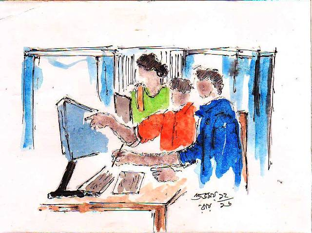 sketch of men and women with computer doing office work