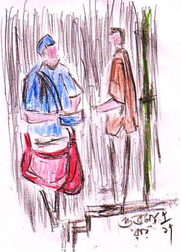coloured pencil drawing of a courier boy delivering a package