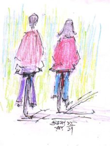 nataraj-and-lyra-pencil drawing of cyclists