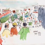 line and wash sketch of mass protests
