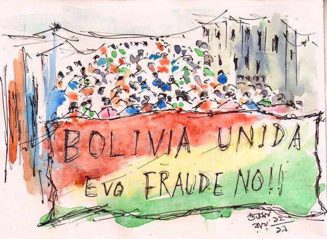 protest march line and wash sketch