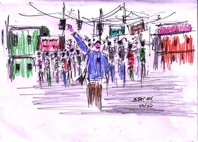 pen and coloured pencil sketch of protest march by public