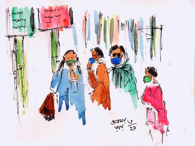 line and wash sketch of people wearing masks