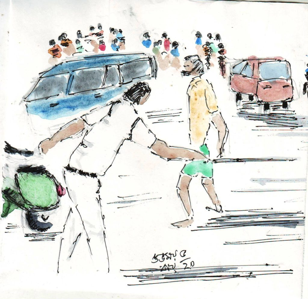 line and wash sketch of police dispersing people