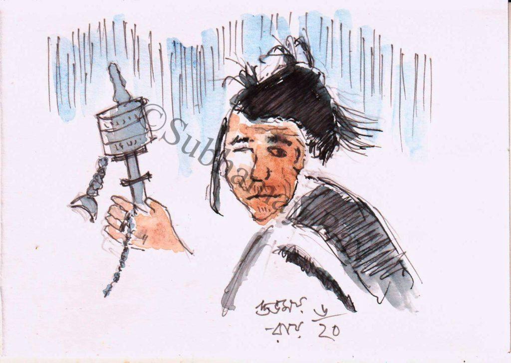 watercolor sketch - tibetan worship