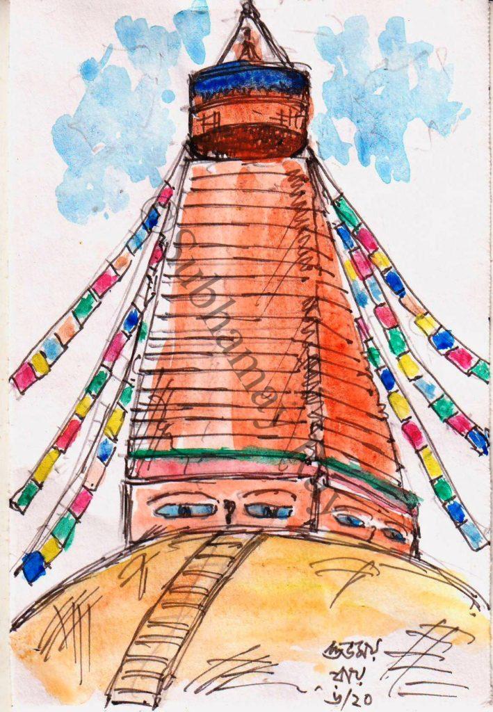 watercolor sketch of boudhanath kathmandu nepal