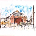 line and wash sketch of hagia sophia