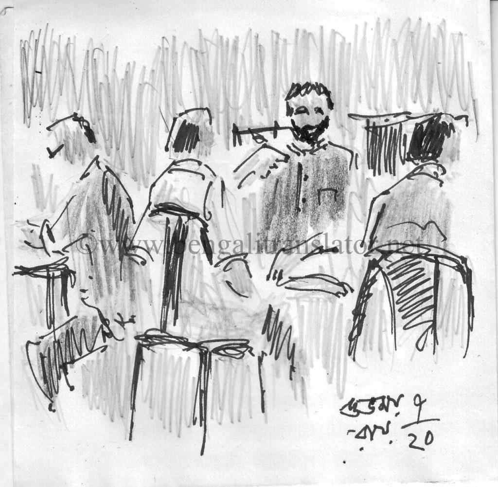 pen and pencil sketch - old kolkata tea shop