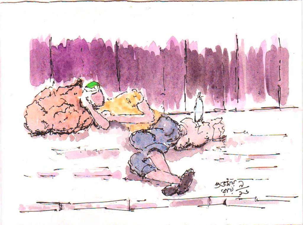 man sleeping on the road sketch
