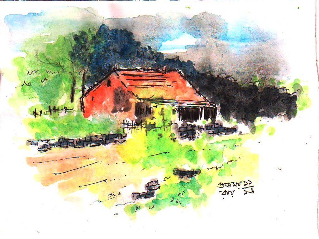 hut sketch in water color