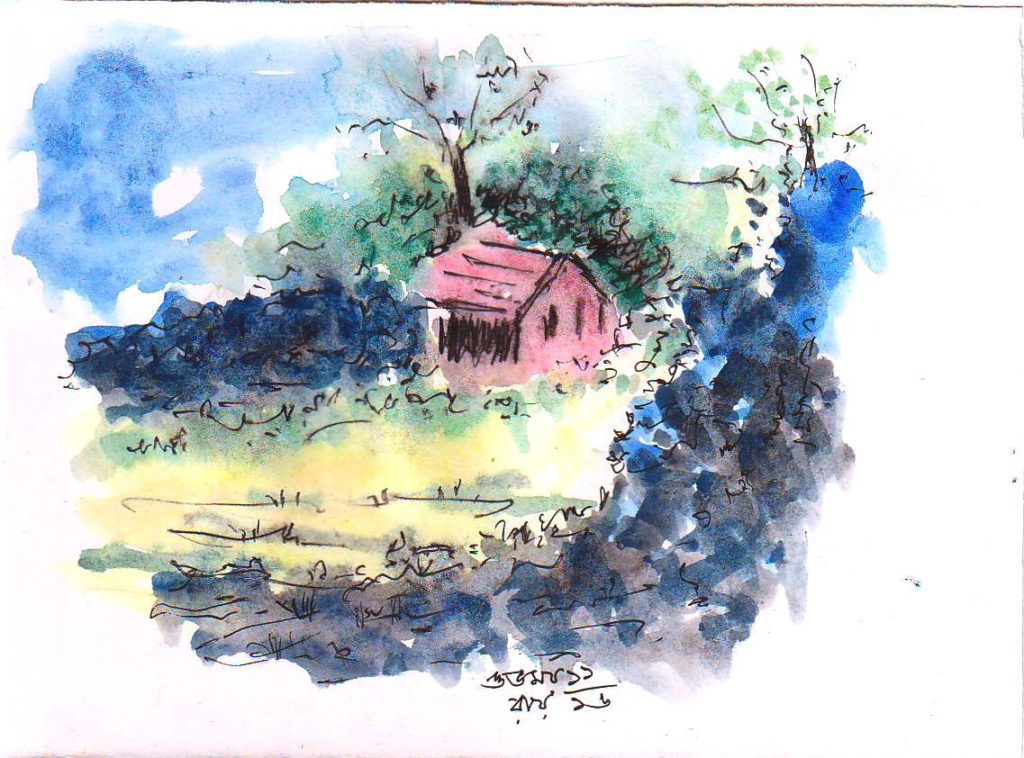 hut sketch water colour