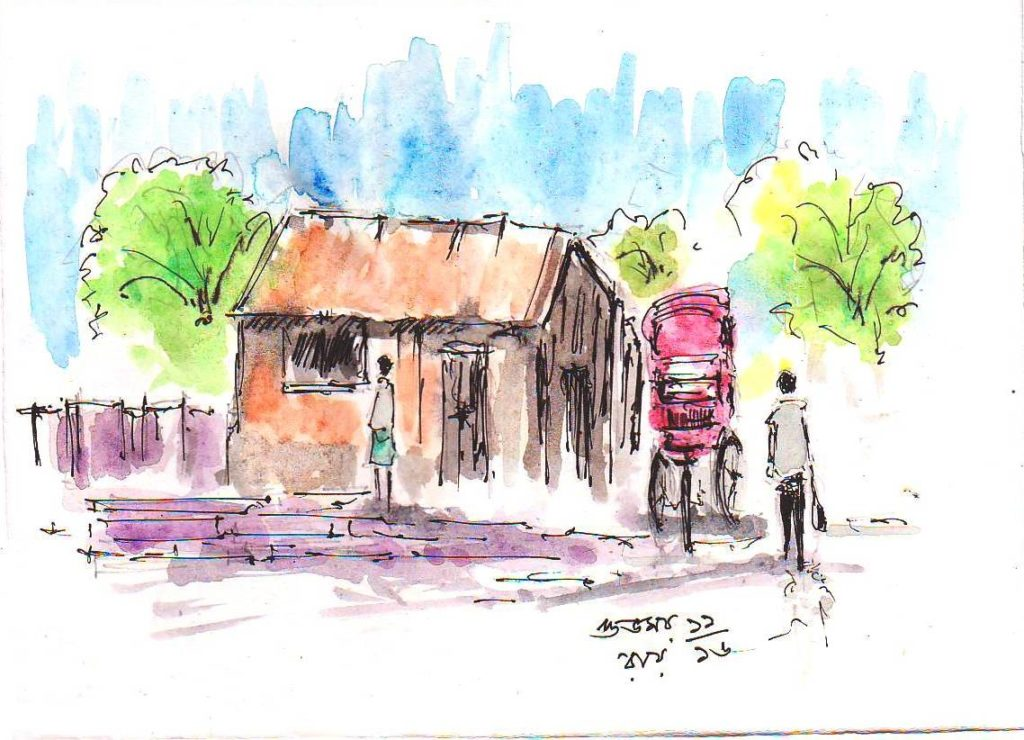pen and wash sketch of a rickshaw-puller