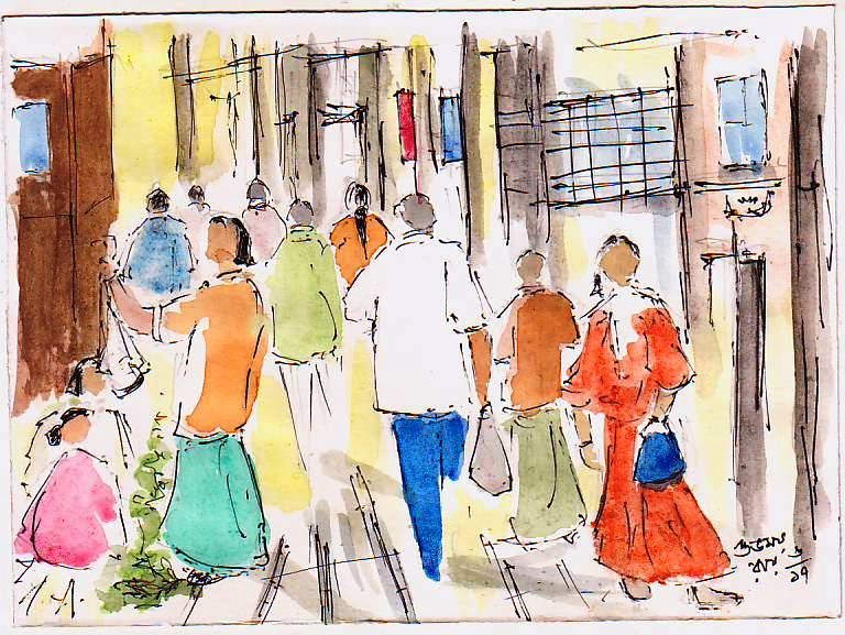 Narrow lanes of Kolkata - urban sketching people