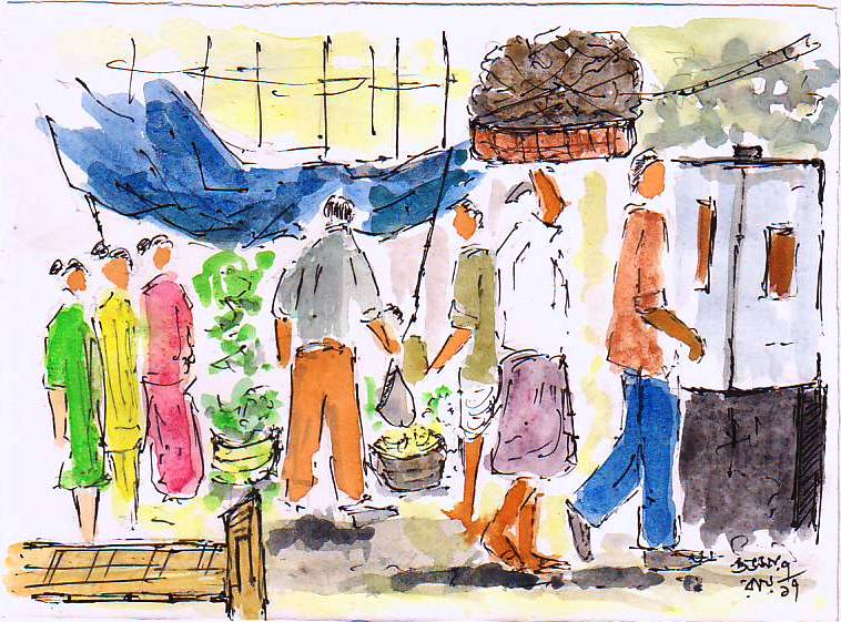 line and wash drawing of a city lane - urban sketching people