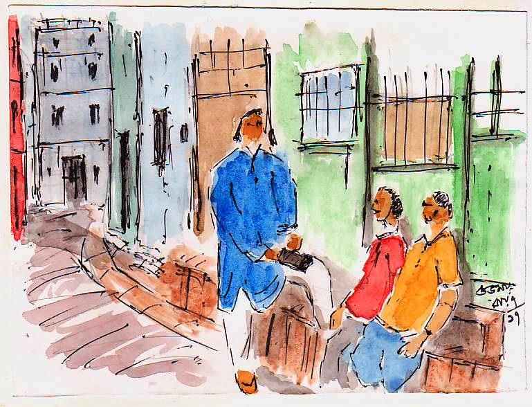 urban sketching people - pen and wash sketch