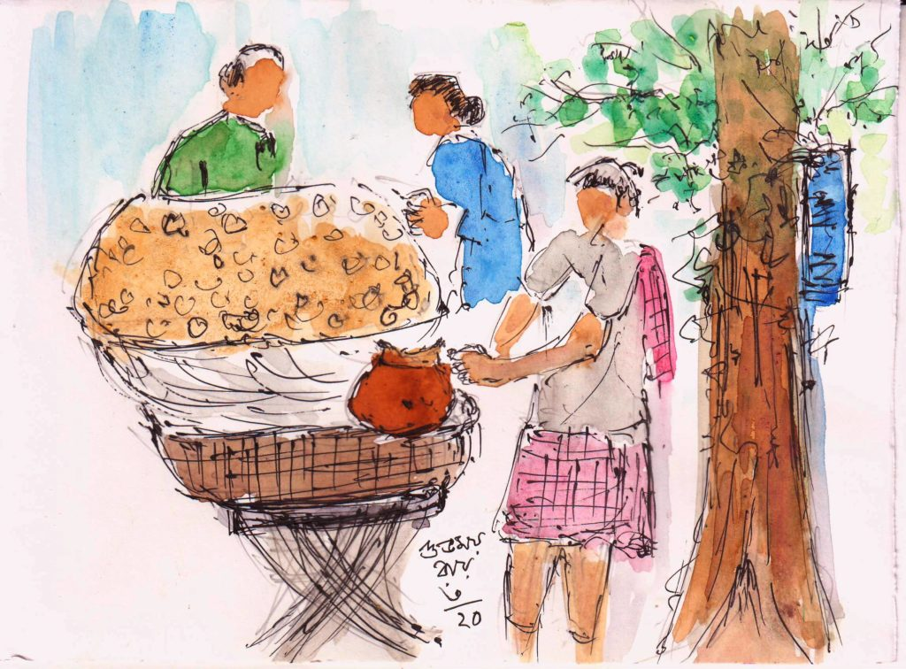 panipuri seller line and wash sketch