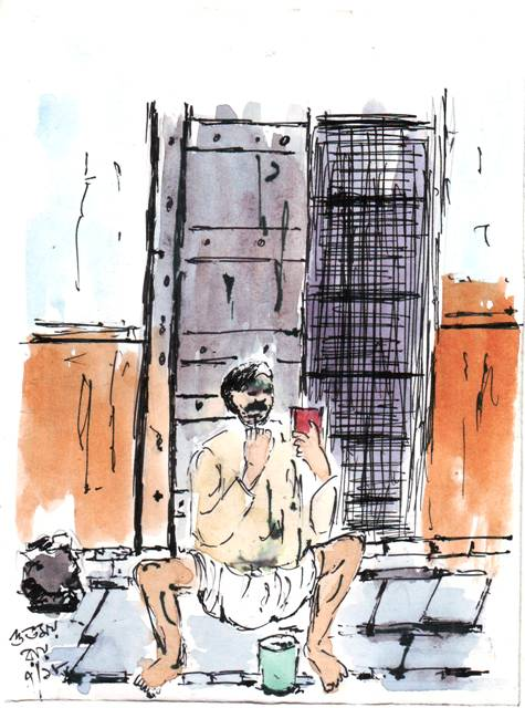 line and wash sketch of a man shaving