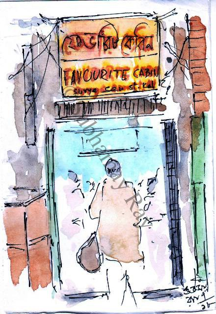 favourite cabin calcutta kolkata line and wash sketch