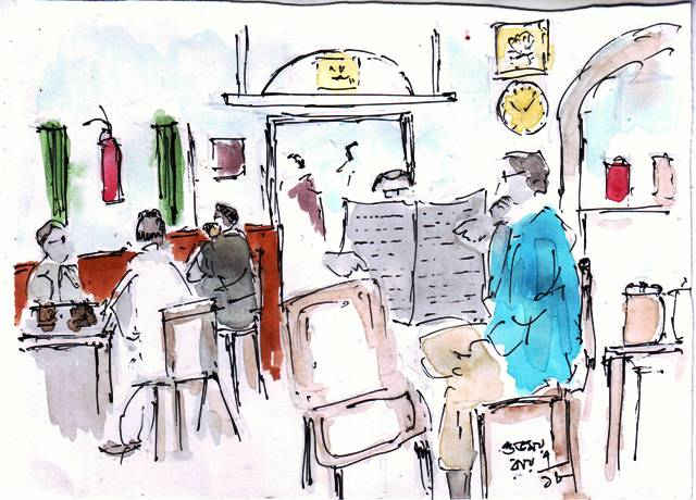 line and wash sketch of a tea shop