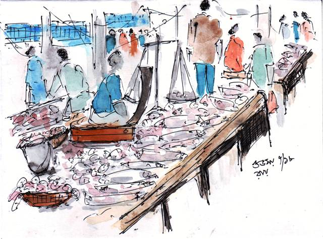 line and wash sketch of a fish market