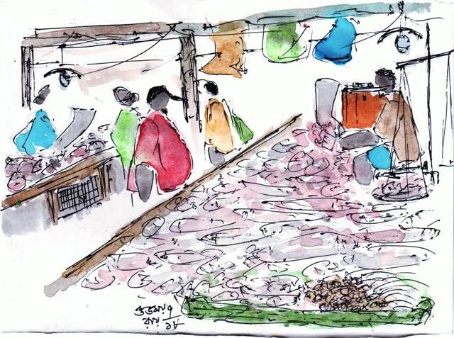 line and wash watercolour sketch of a fish market