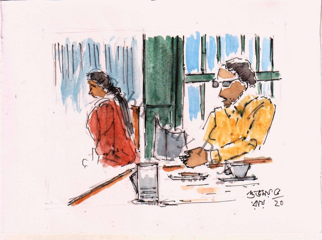 sketch of an inside view of favourite cabin,kolkata