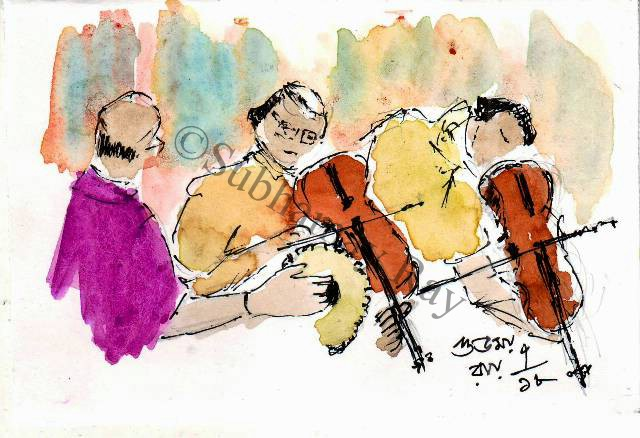 line and wash sketch of musicians