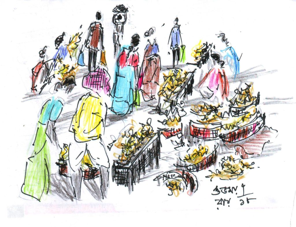 pen and coloured pencil sketch of a farmers' market