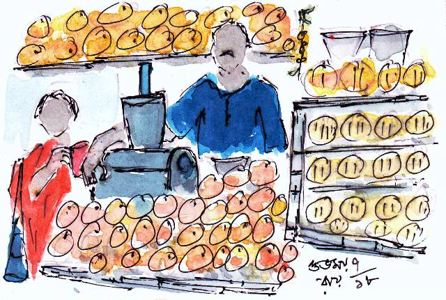 line and wash sketch of a fruit juice vendor