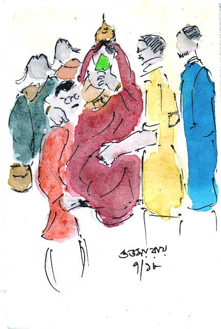 line and wash sketch of marriage