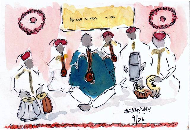 line and wash sketch of shehnai players